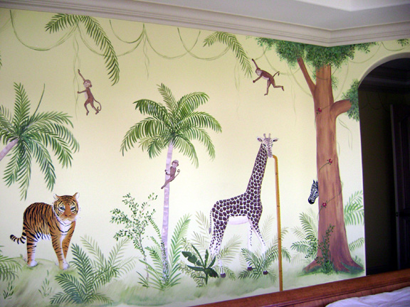 Jungle Children's mural.Jungle theme is suitable for boys , girls bedrooms and the baby toddler nursery.