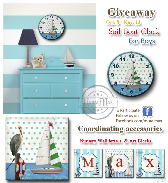 Sail Boat clock giveaway for October