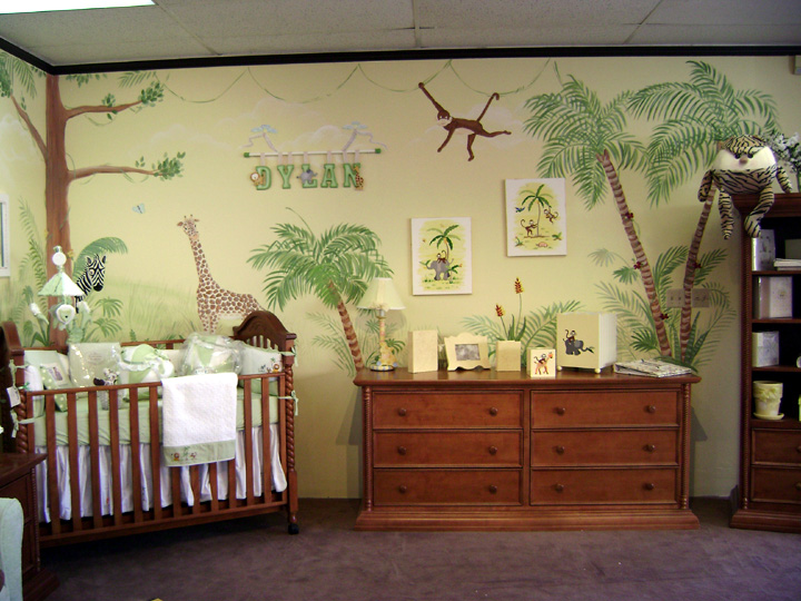 Nursery wall murals children 39 s wall mural murals for kids for Baby jungle mural