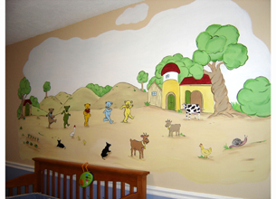 Five Dancing Bears and Barnyard Mural