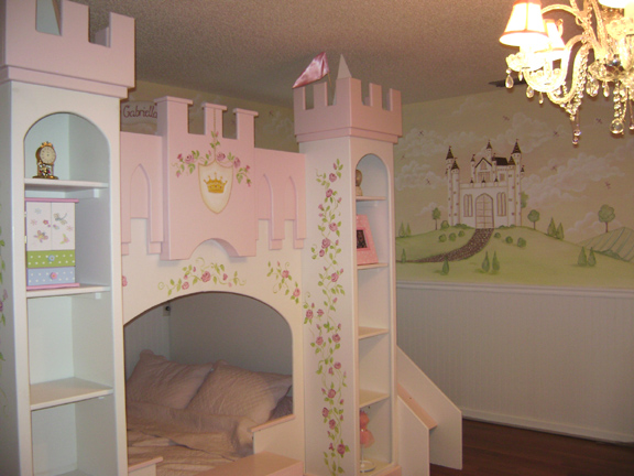 Painted Princess Castle Bed with Mural- Princess Room in Florida private home