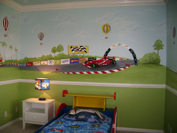 Race Car Child Mural