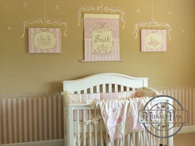 Stripes and Vines Princess Room
